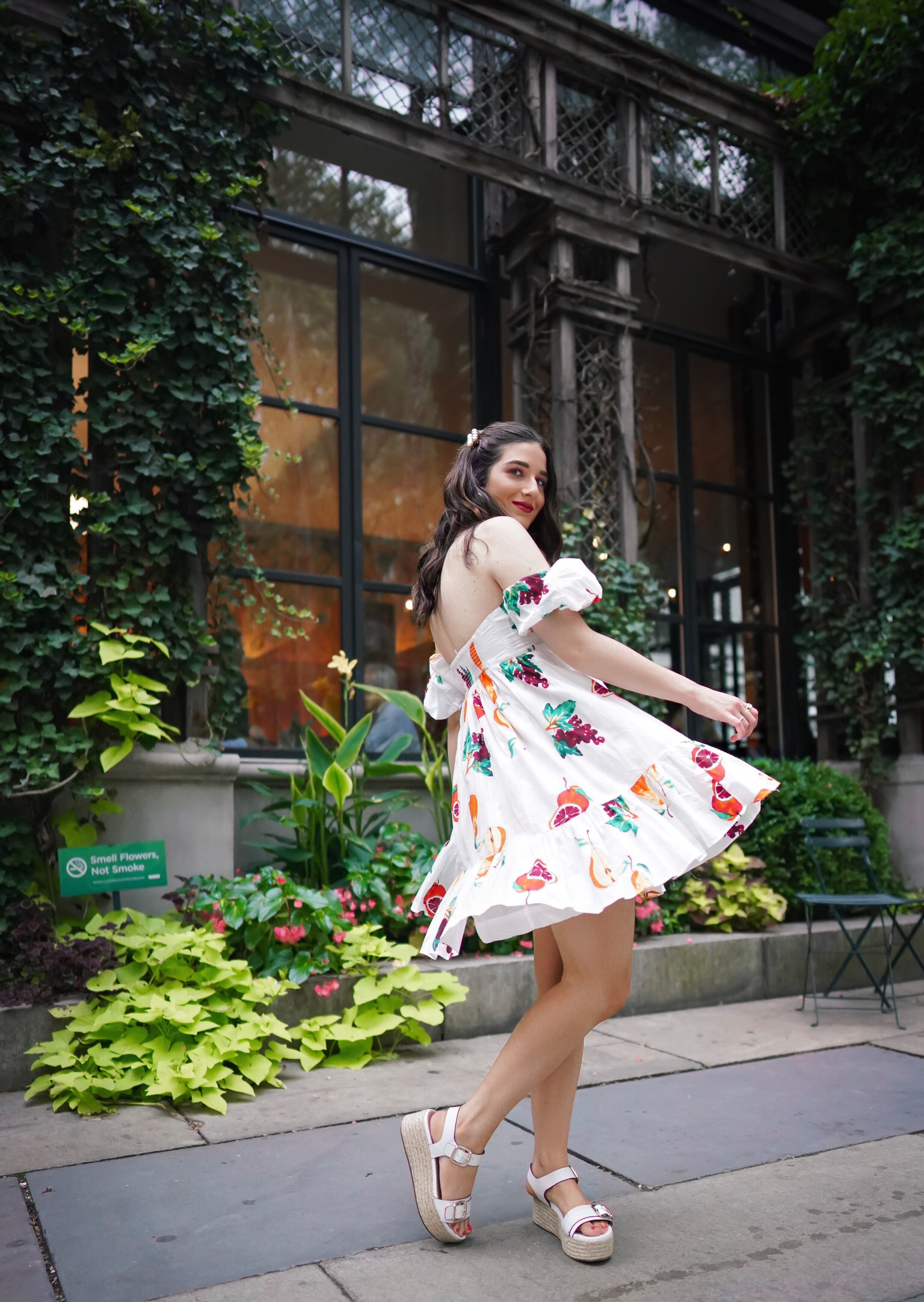 Are We Moving In The End? Cold Shoulder Fruit Dress Esther Santer Fashion Blog NYC Street Style Blogger Outfit OOTD Trendy Shopping Girl What How To Wear Nuuly Urban Outfitters Hair Clips Naturalizer Sandals Fad Pear Grapefruit Grapes Summer New York.JPG