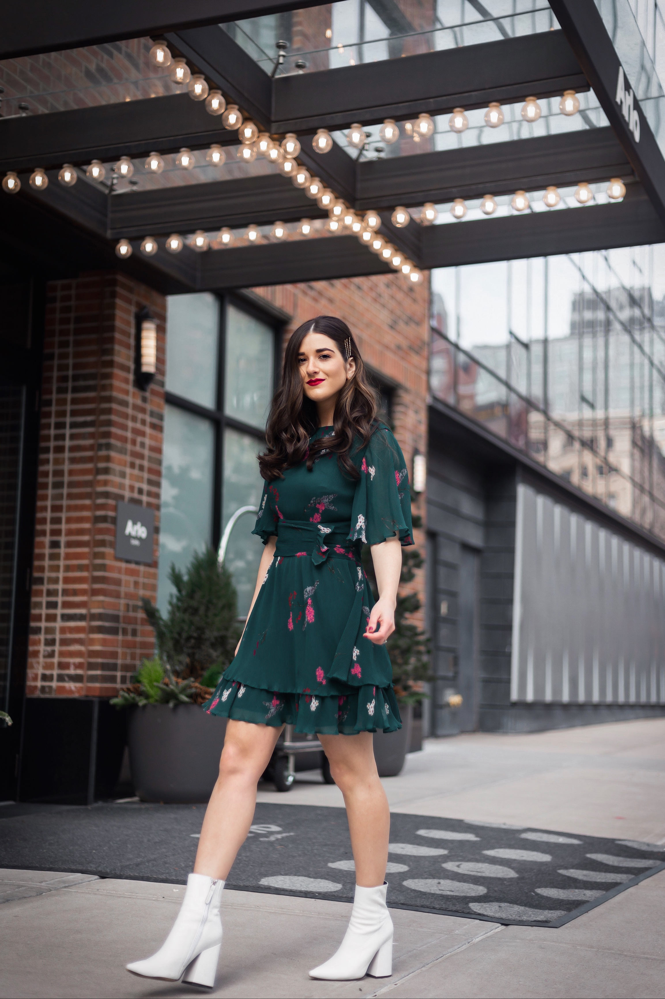 10 NYC Experiences Everyone Should Have Green Floral Dress White Booties Esther Santer Fashion Blog NYC Street Style Blogger Outfit OOTD Trendy Shopping Girl What How To  Wear Bobby Pins Hairstyle Fall Look Butterfly Sleeves Keepsake Label Arlo Soho.JPG