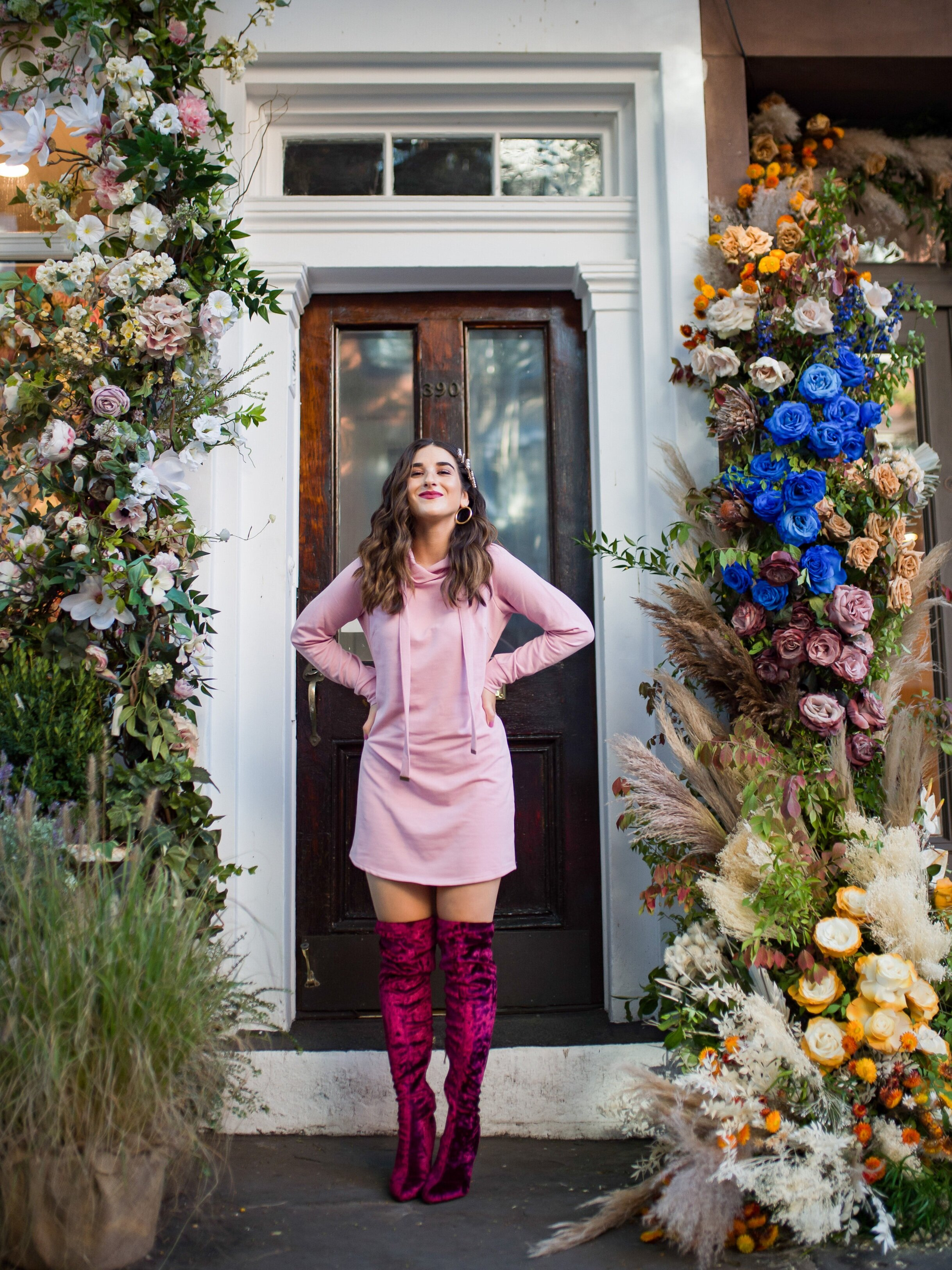 Pink Sweatshirt Dress Velvet OTK Boots Walmart Fashion Esther Santer Fashion Blog NYC Street Style Blogger Outfit OOTD Trendy Shopping Girl What How To Wear Hair Accessories Jewel Clips Fall Winter Styling Maroon Shoes Floral Backdrop Steal Affordable.jpg