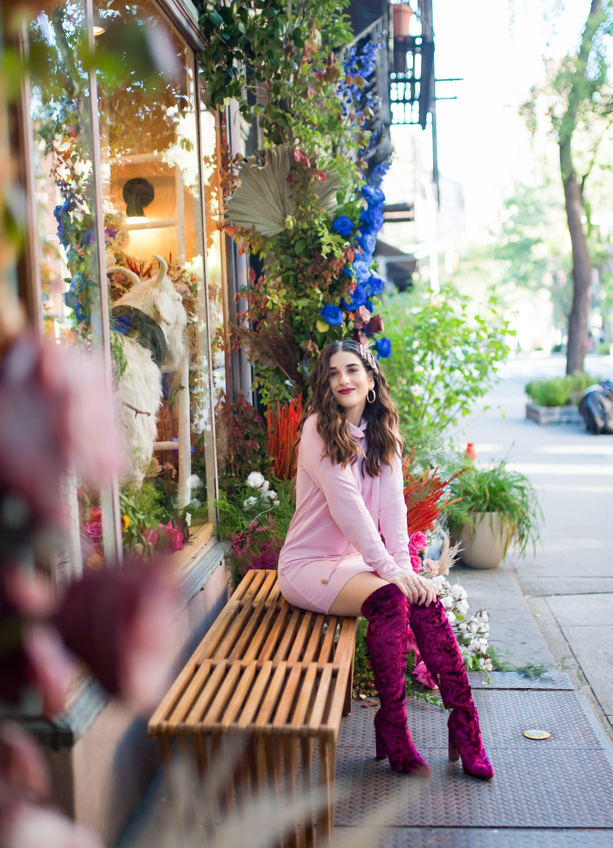 Pink Sweatshirt Dress Velvet OTK Boots Walmart Fashion Esther Santer Fashion Blog NYC Street Style Blogger Outfit OOTD Trendy Shopping Girl What How To Wear Hair Accessories Jewel Clips Fall Winter Styling Affordable Maroon Shoes Floral Backdrop Sale.jpg