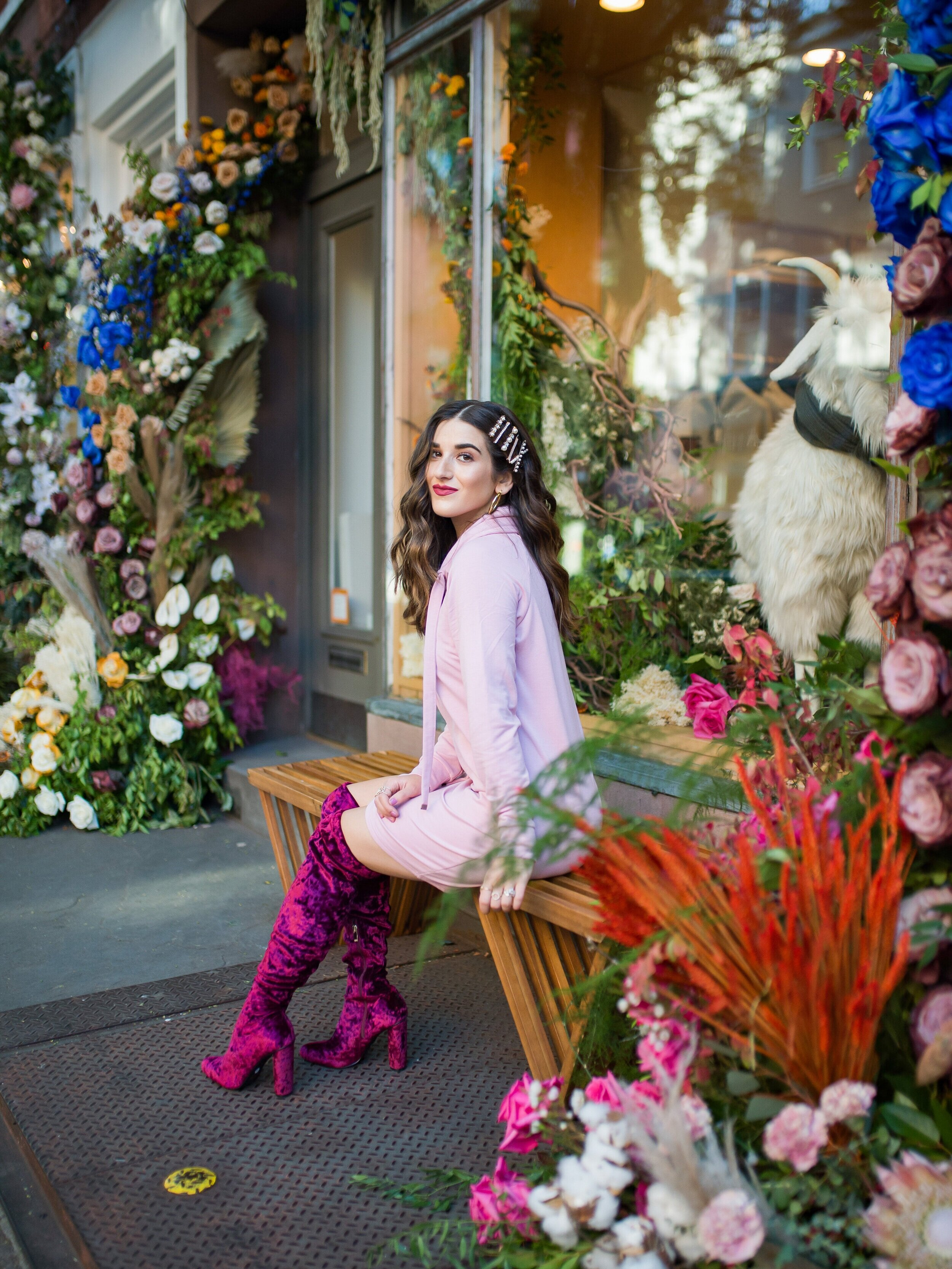 Pink Sweatshirt Dress Velvet OTK Boots Walmart Fashion Esther Santer Fashion Blog NYC Street Style Blogger Outfit OOTD Trendy Shopping Girl What How To Wear Hair Accessories Jewel Clips Fall Winter Styling Affordable Maroon Shoes Floral Backdrop Steal.jpg