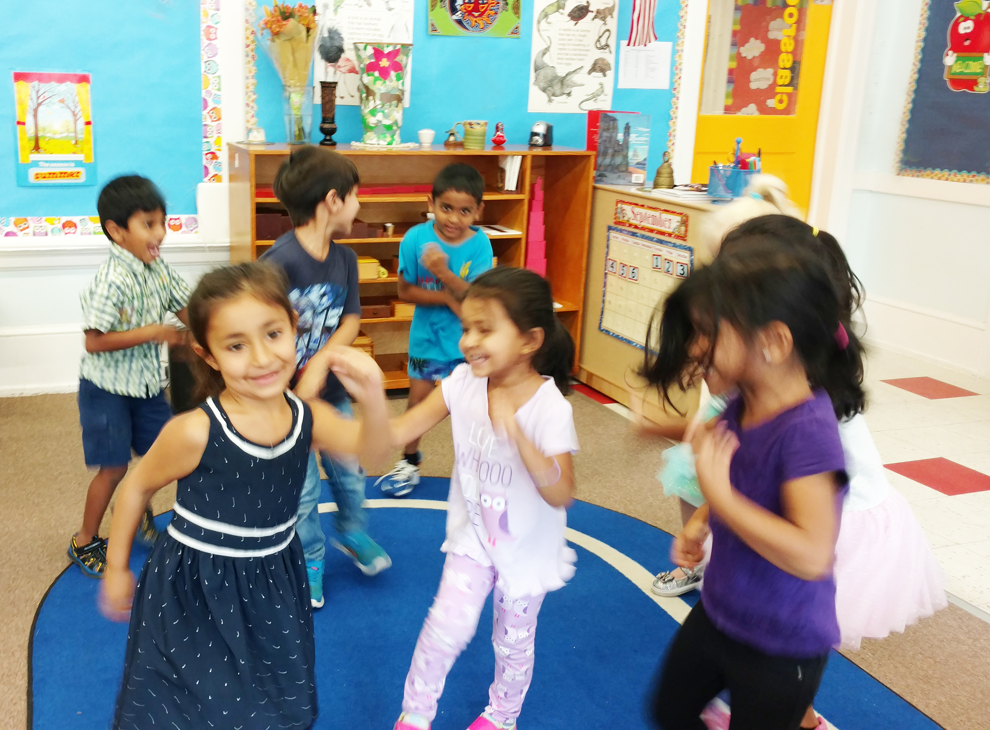 Movement is an essential part of the Montessori environment. This allows the students to have self expression, identify with rhythm, rhyming words and of course the art of memorizing fantastic educational songs.