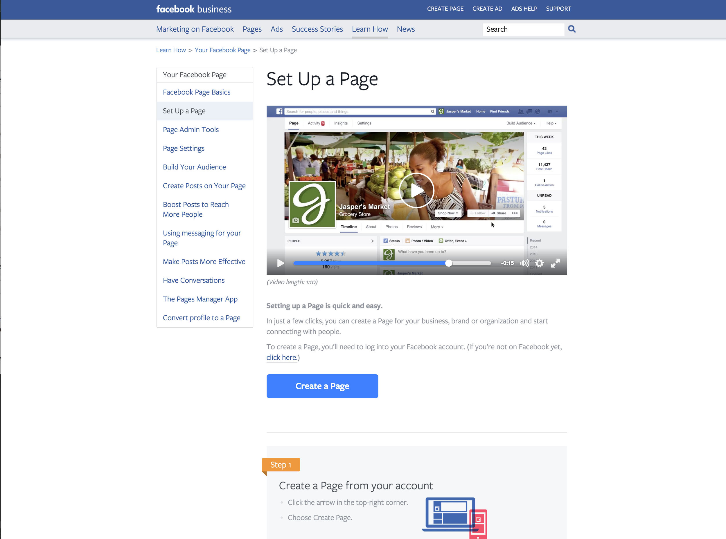 Click on Image to Learn How to set up a business facebook page
