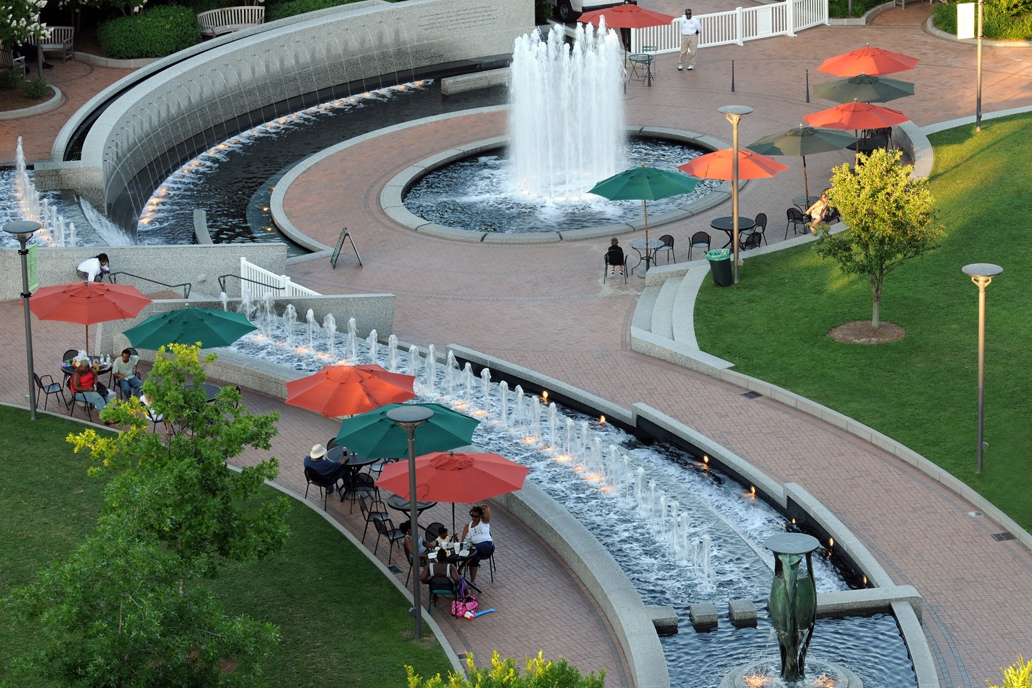 Umbrellas and fountain 2010.jpg