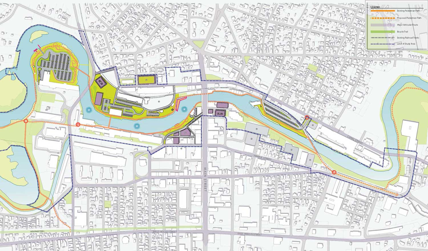 The master plan focuses on a 1.8-mile section of the Nashua River corridor that winds through downtown Nashua, from Mine Falls Park to the Bridge Street bridge.