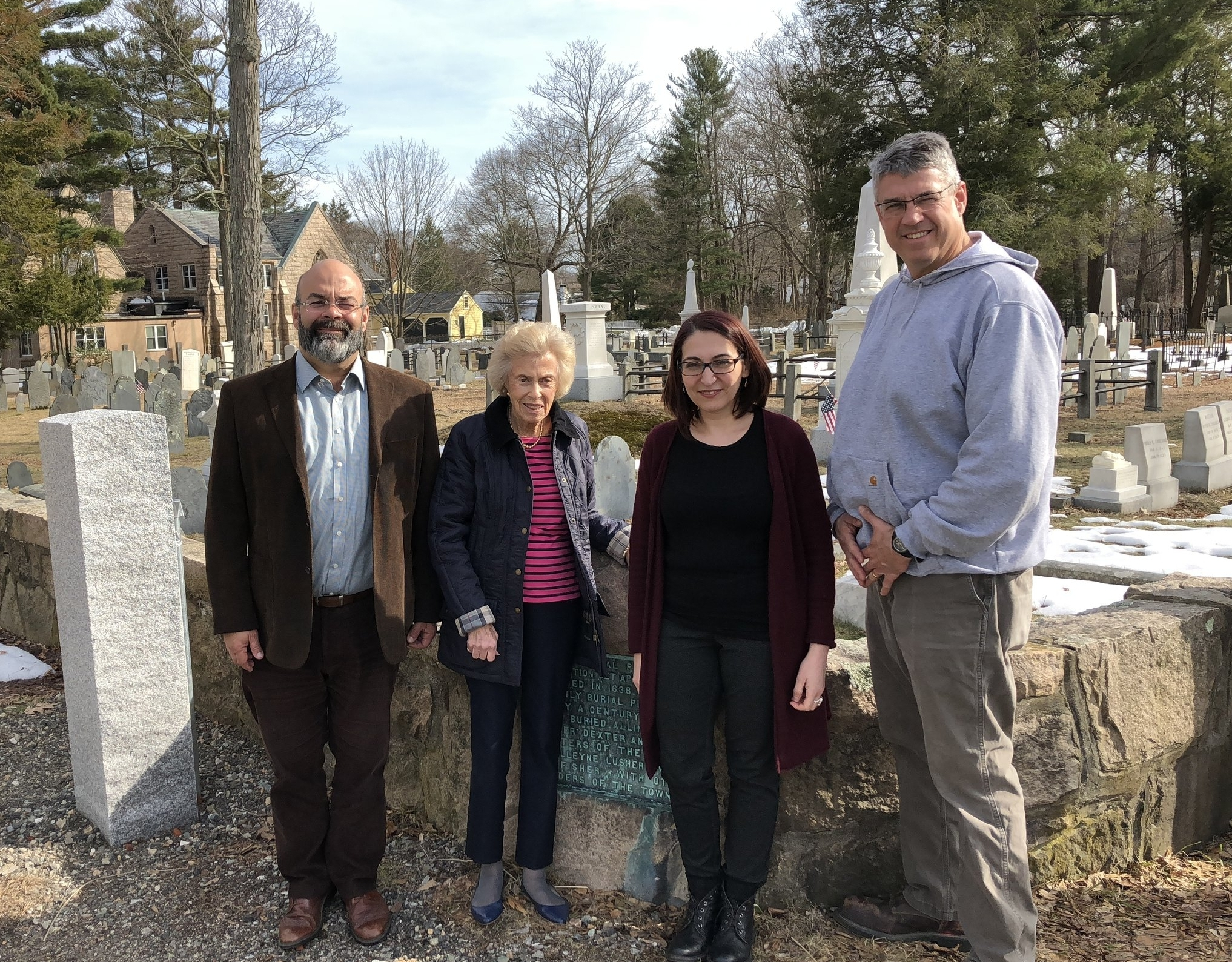 From Left to Right: Ricardo Austrich;former State Representative Marie-Louise Kehoe;Vesna Maneva, and Dedham DPW Director Joseph Flanagan