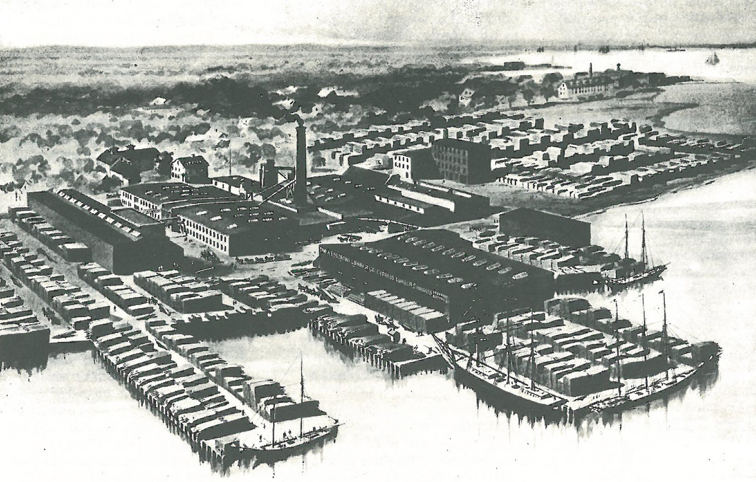 Historic photo showing A.J. Stearns Lumber Yard with Wharf, 1897