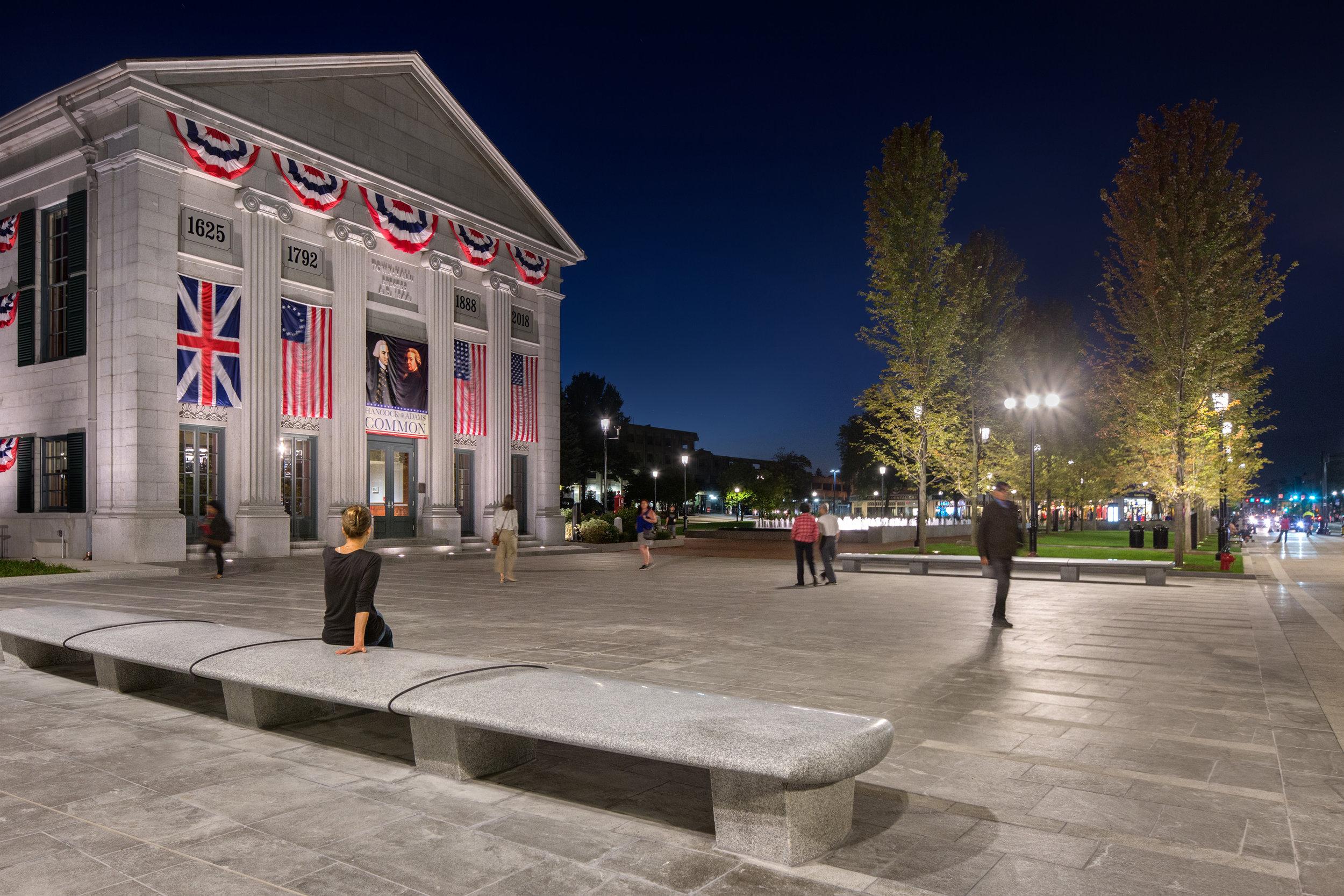 Evening view of Hancock Adams Common plaza (Photographer: Ed Wonsek)