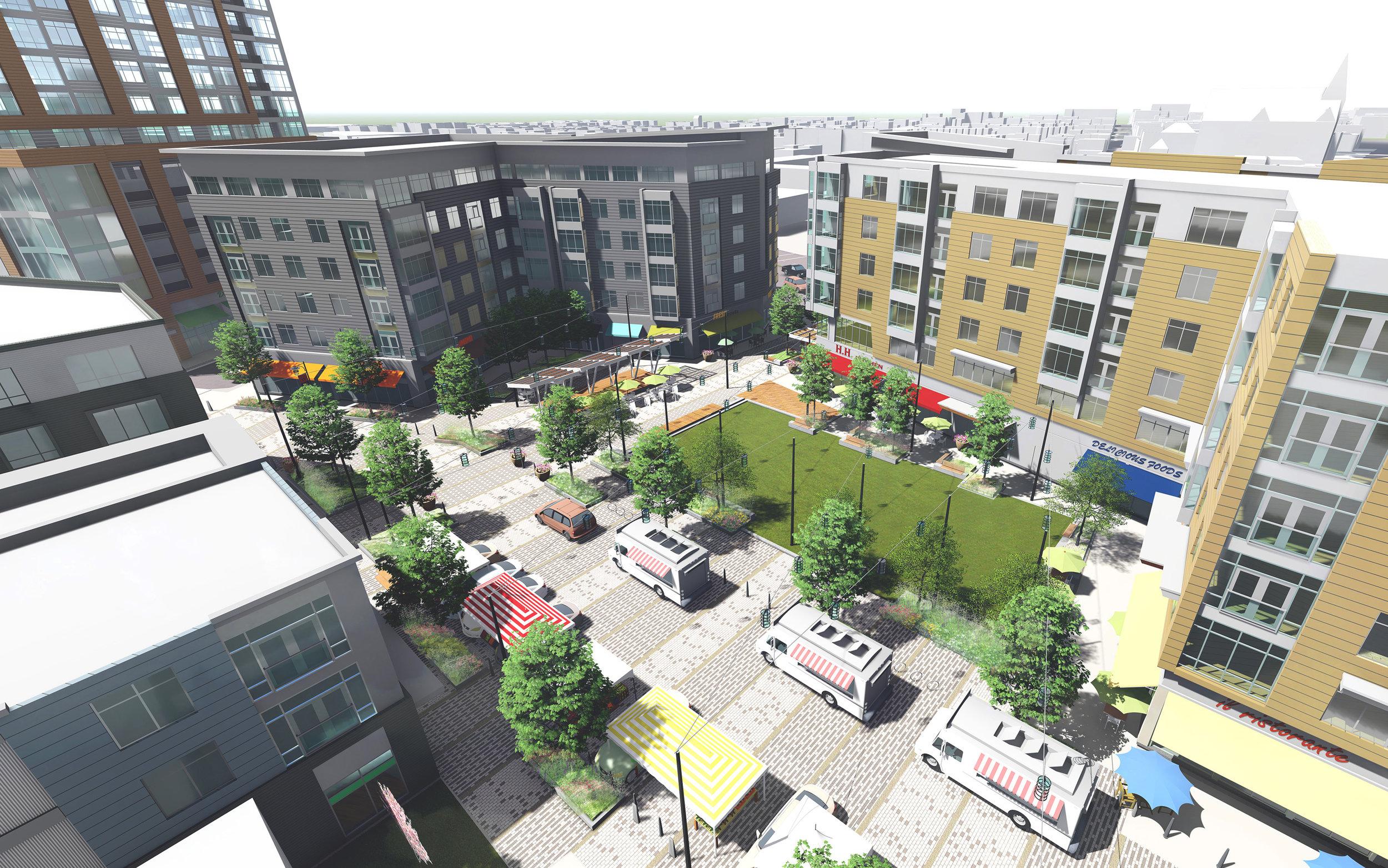 Aerial view of Washington Village Lawn (Rendering by Halvorson Design)