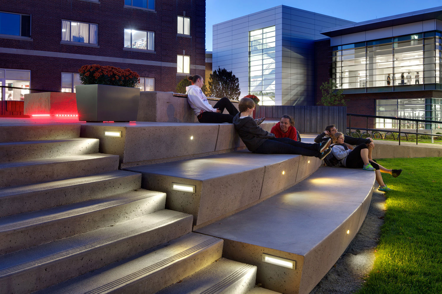 Amphitheater seating at the Wedge serves as a popular gathering space overlooking the active campus green. (Photo by Ed Wonsek)