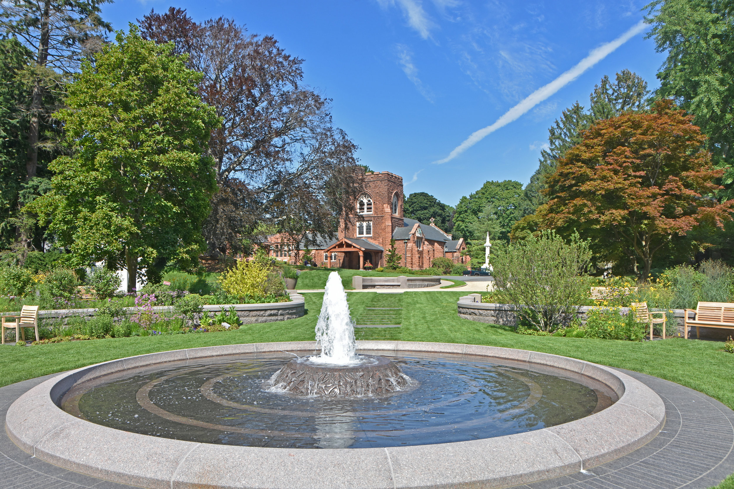 View of new fountain and Asa Gray Garden with Story Chapel behind. (photo by Jo Oltman)