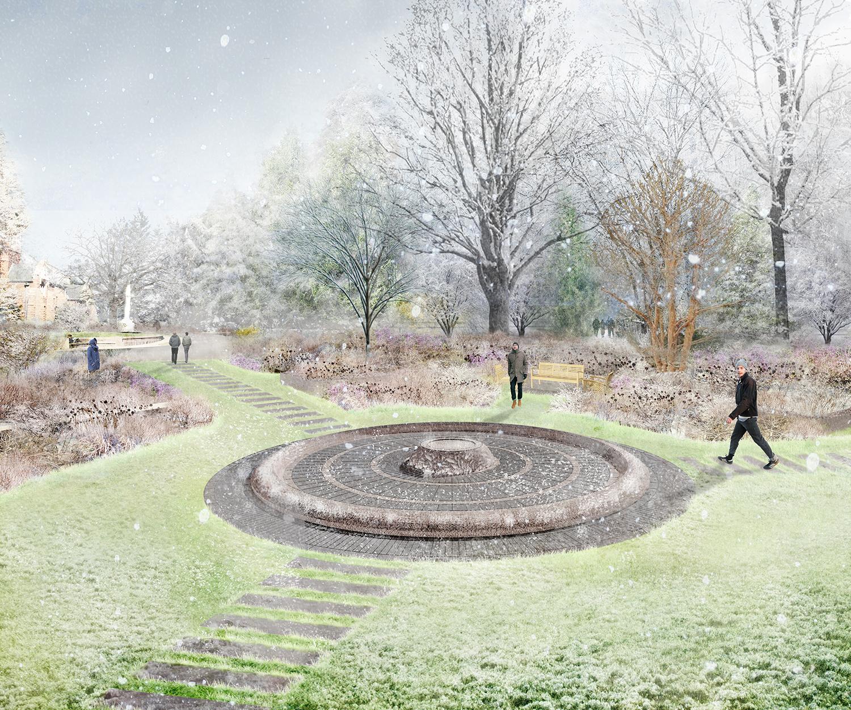 Rendering of fountain in winter (Halvorson Design)
