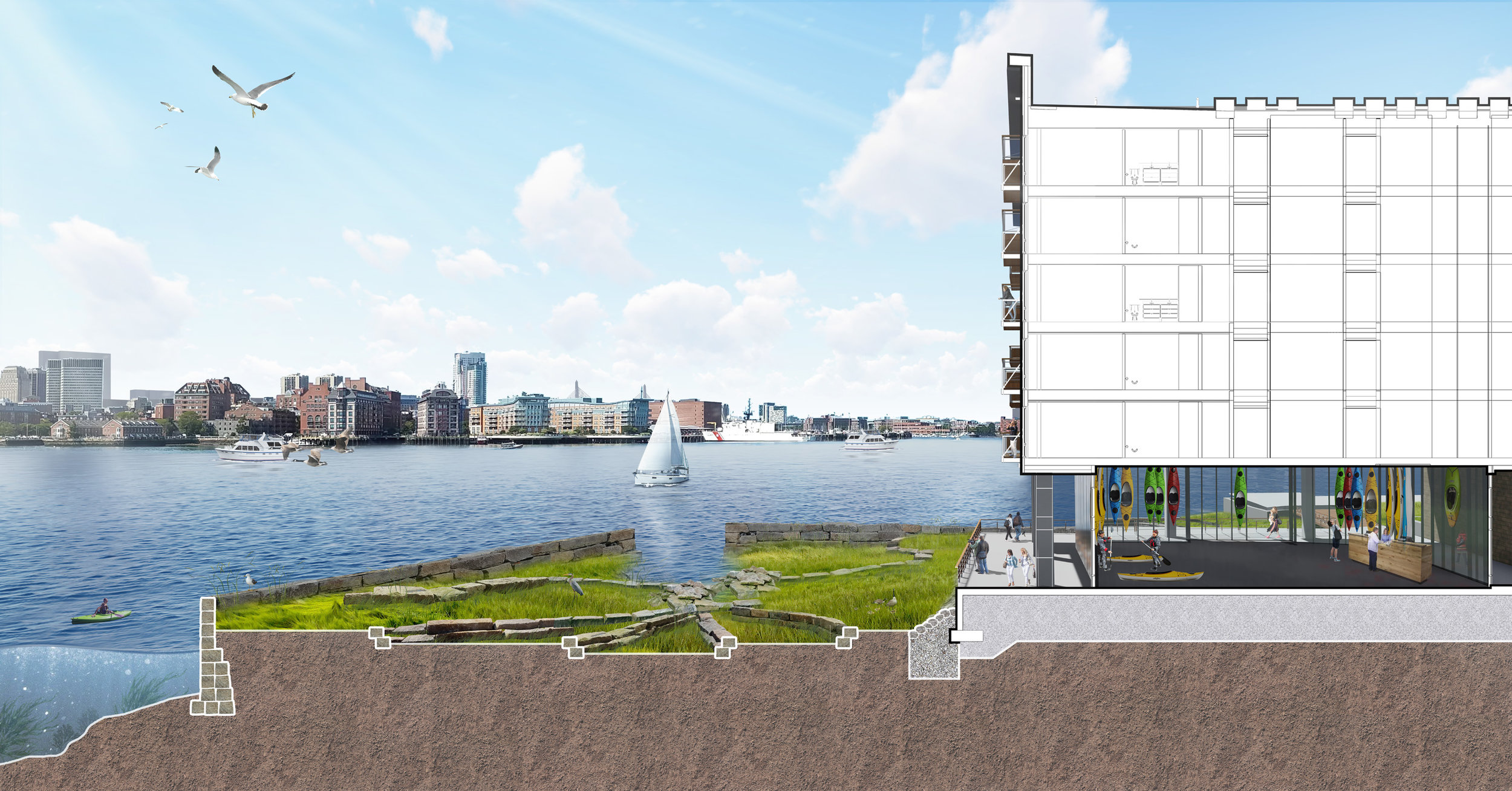 Clippership Wharf Site Section with Boston skyline (Halvorson Design)