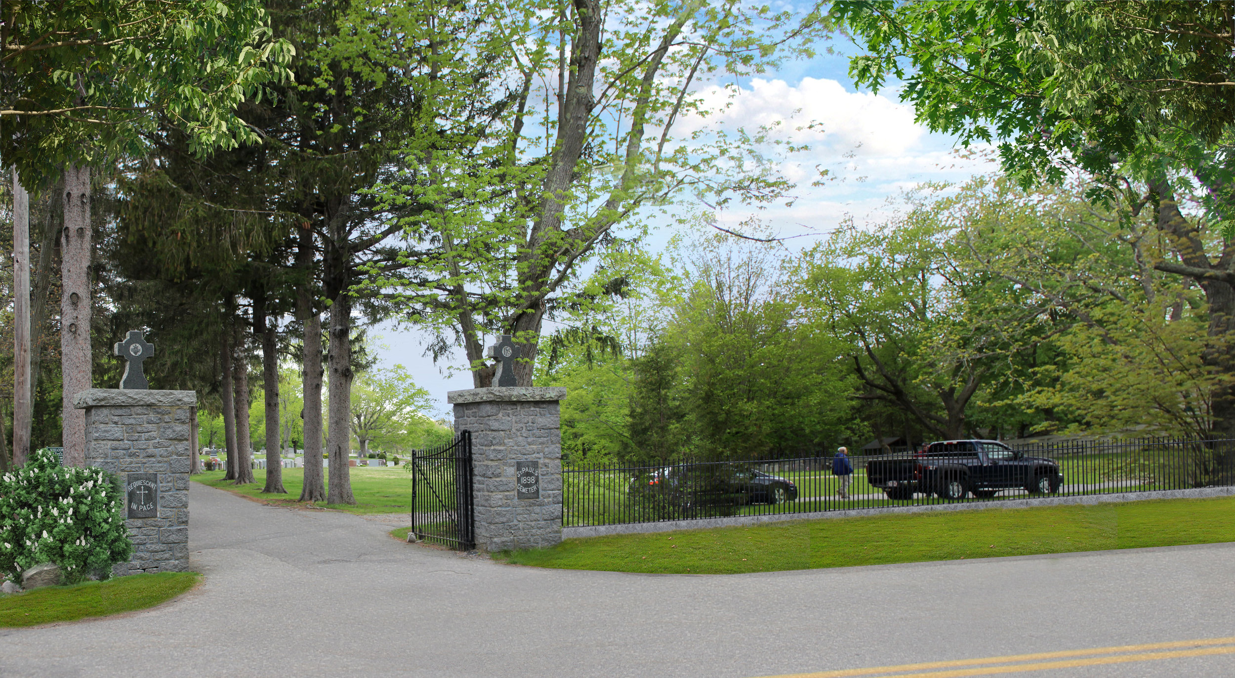 Entry gates at St. Paul Parish Cemetery in Hingham, MA (Rendering by Halvorson Design)
