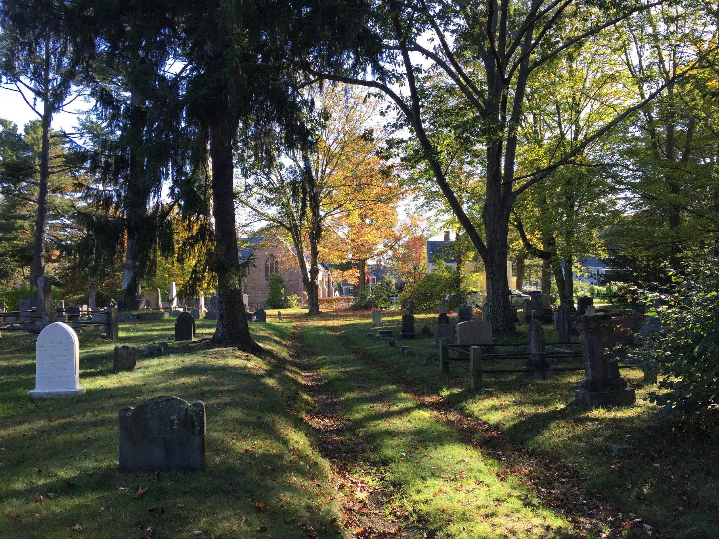 View of Old Village Cemetery in Dedham, MA