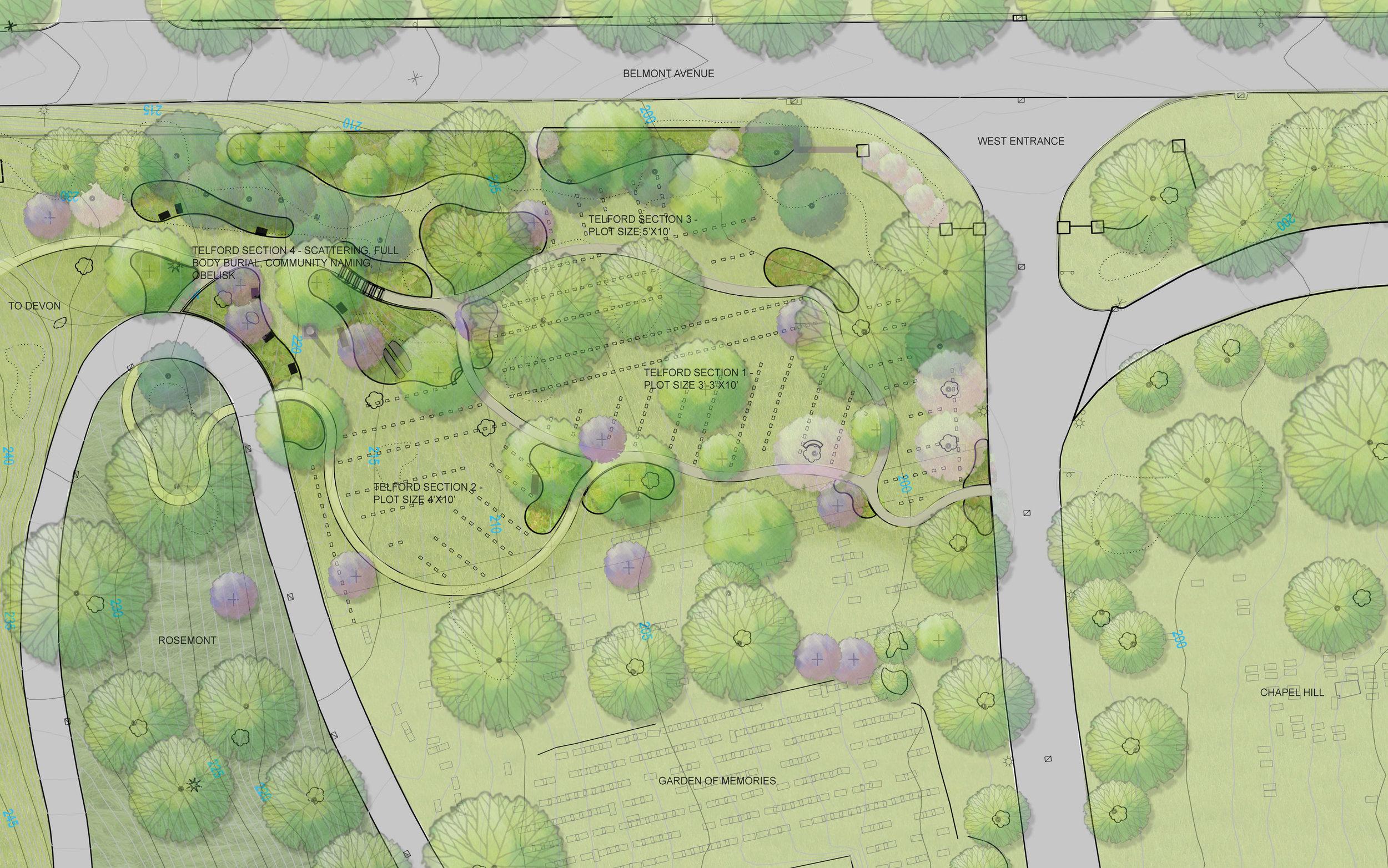 Site Plan for Telford Path at West Laurel Hill Cemetery (Halvorson Design)