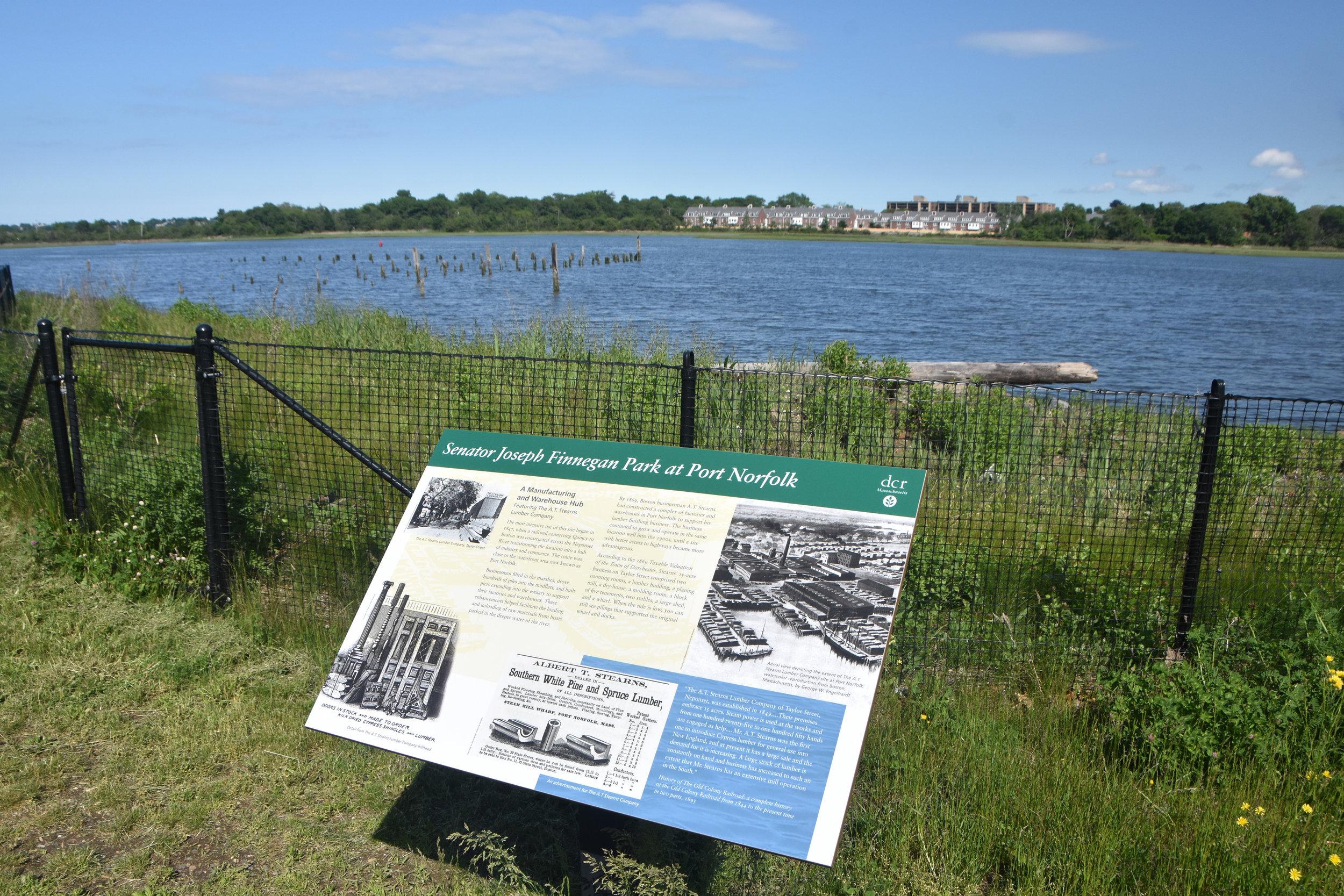 Environmental Signage at Senator Joseph Finnegan Park at Port Norfolk