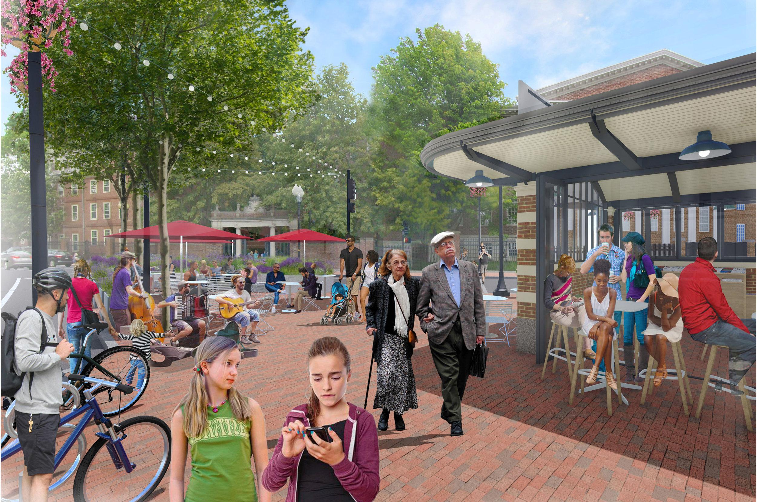 Harvard Square Plaza Kiosk Rendering (Halvorson Design)