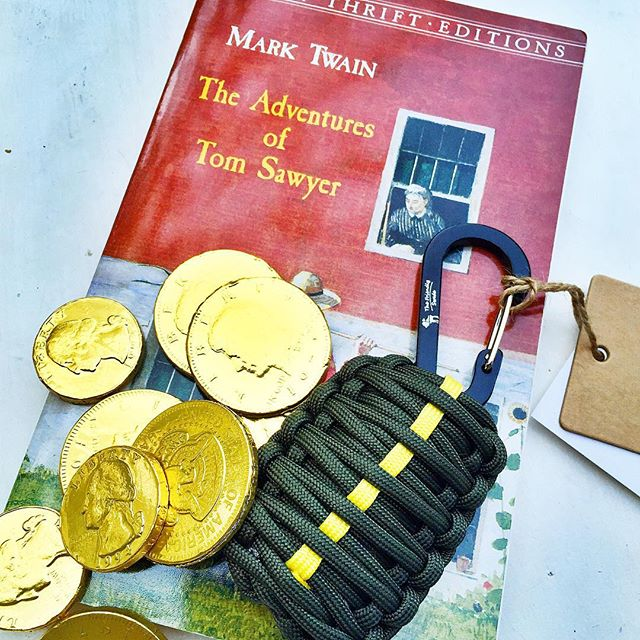 "💥💥Okay, I'm so excited about this giveaway! In conjunction with my Raise the Boys post ""How to have a Tom Sawyer summer,"" I am giving away a Tom Sawyer Adventure Pack. Basically it's all the basics your son needs to have his own Tom Sawyer adventure: a copy of the classic Mark Twain story, some buried treasure in the form of (chocolate) gold coins, and the Friendly Swede emergency grenade survival kit. Are you familiar with the Friendly Swede? They have some cool products, but this is one of my favorites. It includes fishing hooks and line, swivels, floats, weights, a knife blade, tinder, fire starter and tin foil, all wrapped up in 7 ft. of parachord. Awesome for any hike or camping trip where your son might need an emergency kit. To enter the giveaway: 1⃣Follow @raisetheboys 2⃣Tag a friend in the comments below. You can tag multiple friends in separate comments. 3⃣Check out the link in my profile to see all the awesome things going on at Raise the Boys. You're going to love it, I promise. 💥💥Giveaway ends Friday at 5 pm Central. 💥💥Note too, that since there is a small knife involved in this kit, it is not recommended for young kids. Good luck, I hope you win! #giveaway #raisetheboys #boys #tomsawyeradventurepack #thefriendlyswede #tomsawyer"