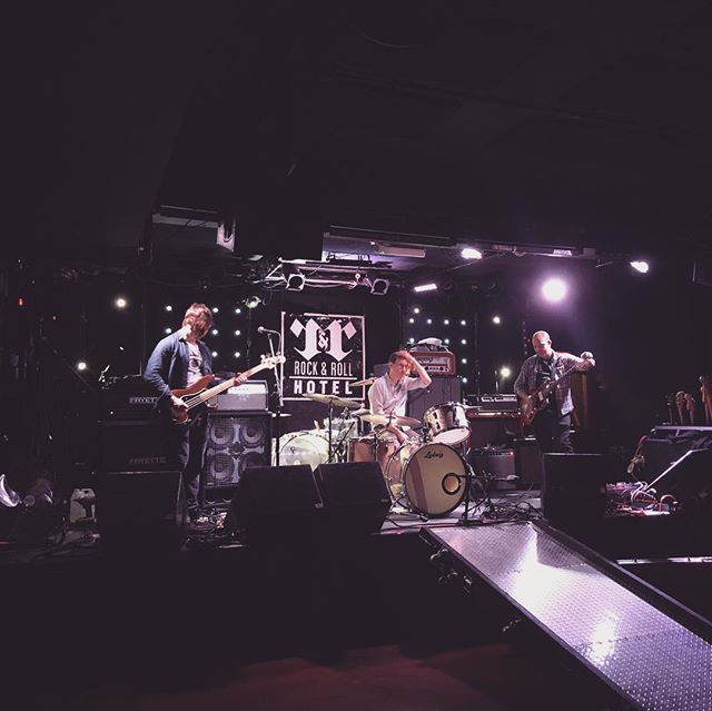 Soundcheckin'.....we're on at 9 at @rocknrollhotel tonight.... @spartaband headlining and @soundandshape after us.. . . . . #rock #roll #saturday #saturdaynight #bass #drums #guitar #rocktrio