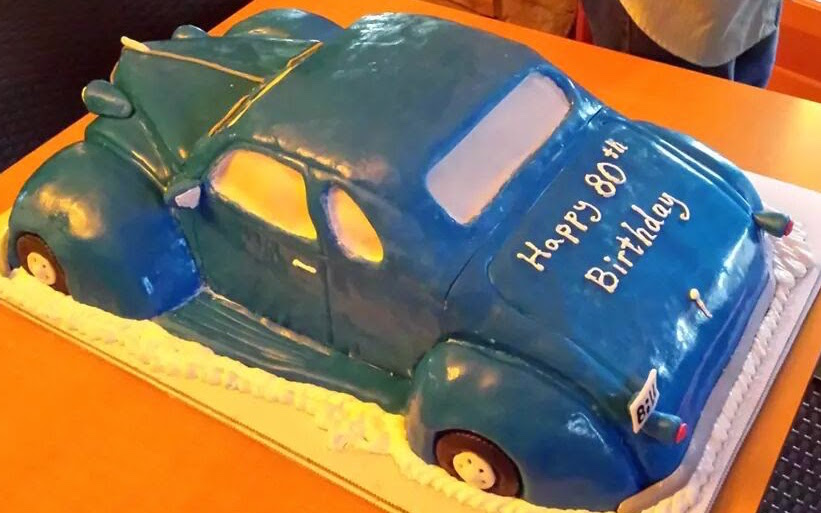 37 Chevy coupe car, custom made cake,for bill's 80th birthday, made by neil freitas.