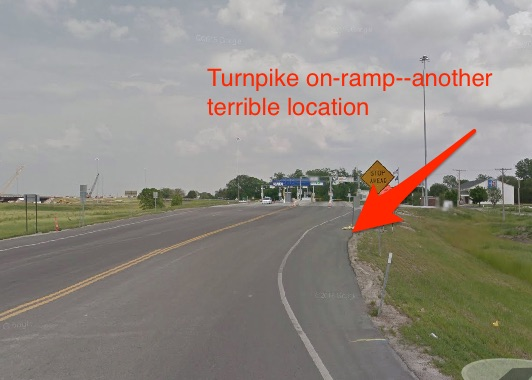 "Don't be tempted to try your luck at a turnpike ""on ramp"".  No safe place to pull over and drivers are very distracted while negotiating the toll plaza.  Also there's no way for a driver to turn around and come back for you!"