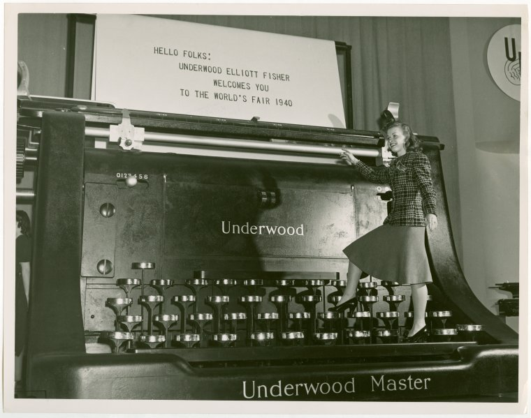 Standing typewriters: the next new trend in healthy working?  Courtesy  New York Public Library Digital Collections .