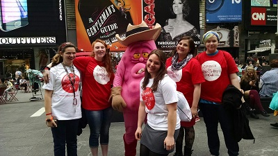 From Left to Right Sienna Bibeau-Kali Bushey- Hayley Disco-Kelsie Mesec- Emma Stewart- in times squre with john olivers Jeff the Diseased Lung after the FlashMob.jpg