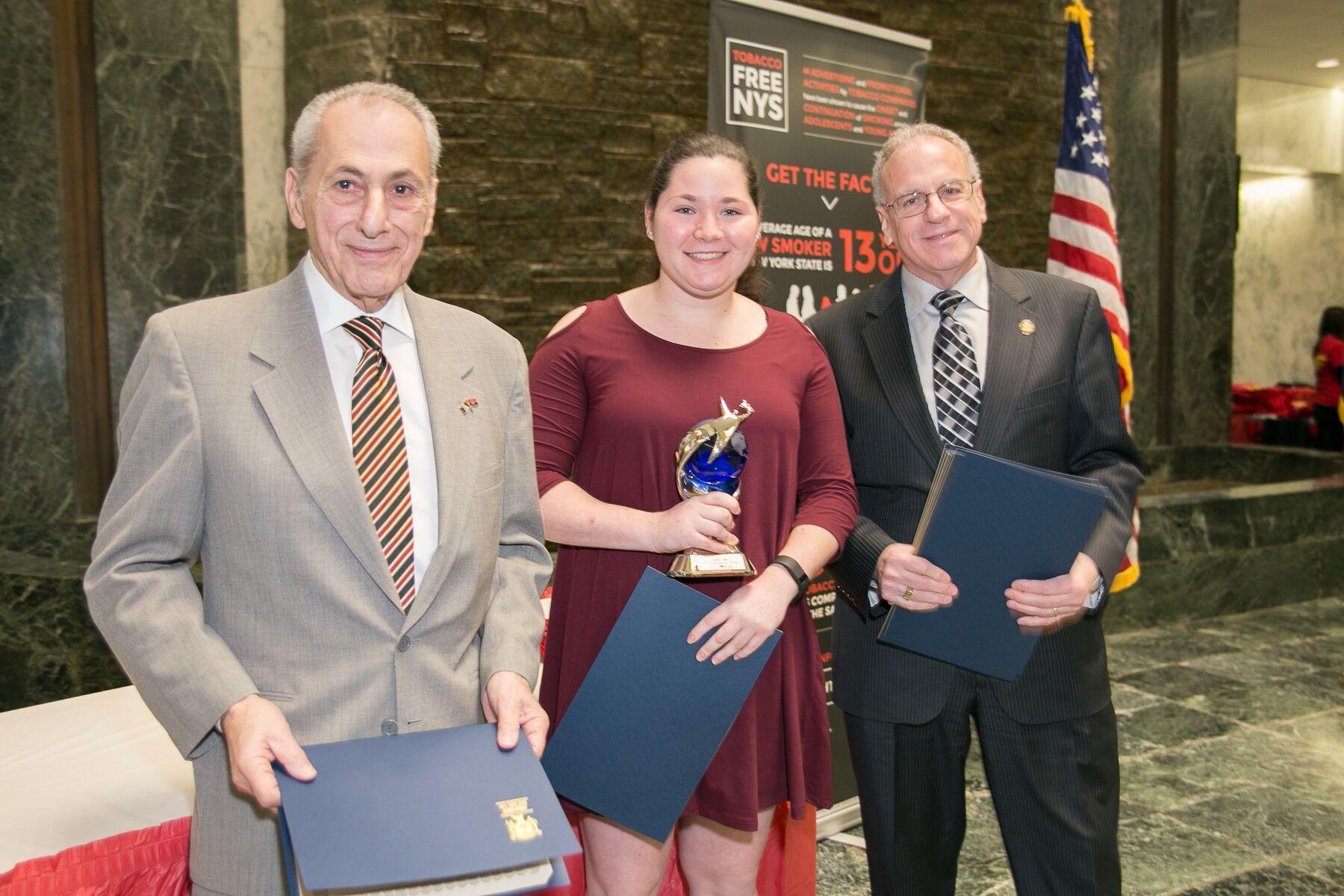 - Youth Advocate of the Year Award Lauren Cybul with Assemblyman Joseph Errigo and Assemblyman Jeffrey Dinowitz
