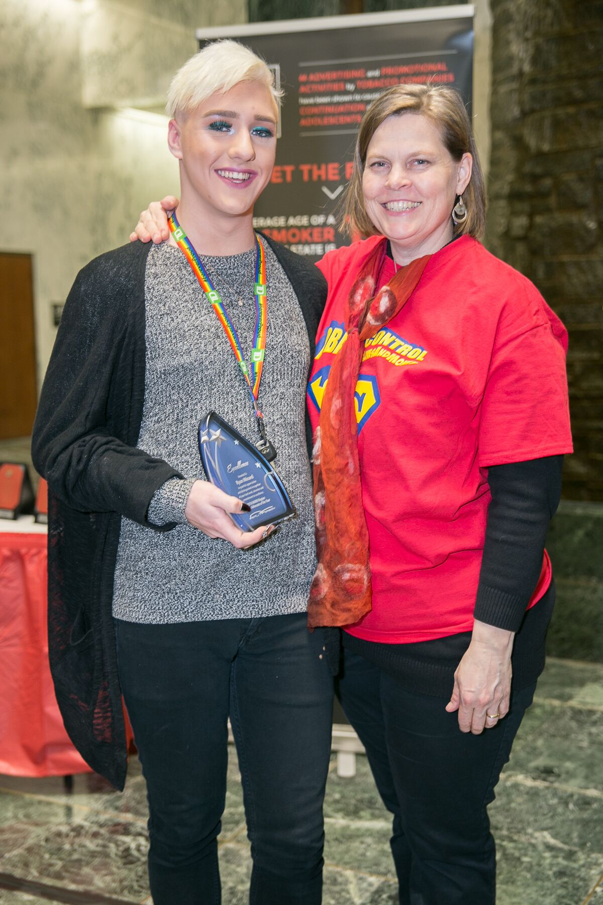 - Reality Check Program Coordinator Diane Moore with the MARO Region YAYA Winner Ryan Minard