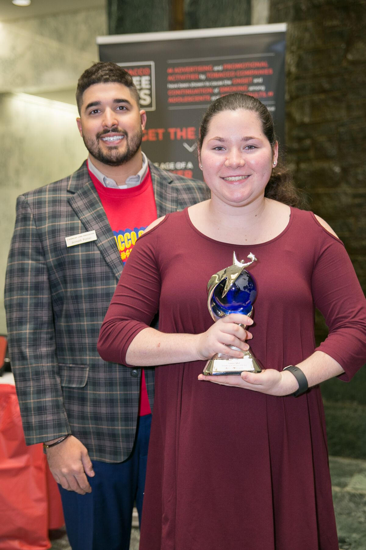 - Reality Check Program Coordinator Joseph Potter with the 2018 State YAYA Winner Lauren Cybul