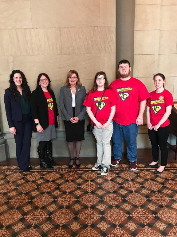 Waterloo RC  - Pictured left to right are Caitlin O'Brien from the American Cancer Society, Deb Mendzef CNY Regional Center for Tobacco Health Systems, Senator Pamela Helming, Waterloo Reality Check Youth Kim Page and David McCarthy, and Brigid Heenan Community Engagement Manager and TACFL.