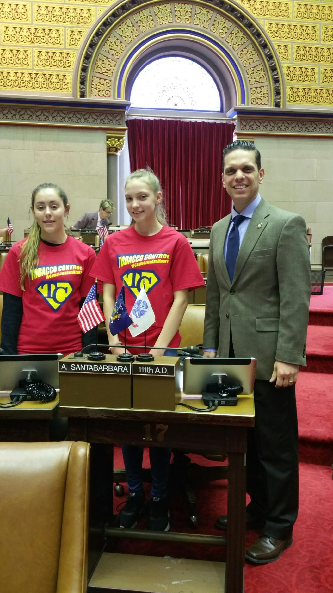 Fort Plain RC - RC youth from Fort Plain, NY spending time with Assemblyman Angelo Santabarbara on the floor of the Assembly at the State Capitol.