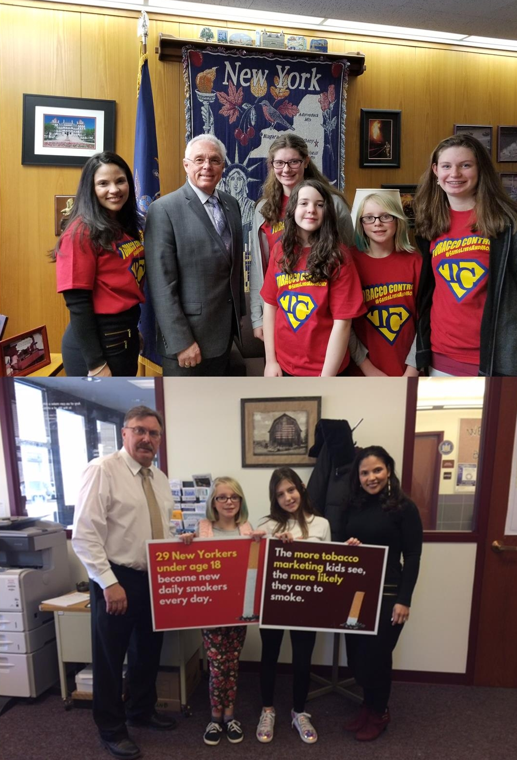 Cherry Valley-Springfield RC check in on Albany - On top, Assemblyman Clifford Crouch is paid a visit from RC youth on a mission to help bring on the first #tobaccofreegenerationBelow, RC youth meet with Assemblyman Brian Miller at his New Hartford office. It appears they have a few messages they wanted to bring to his attention.