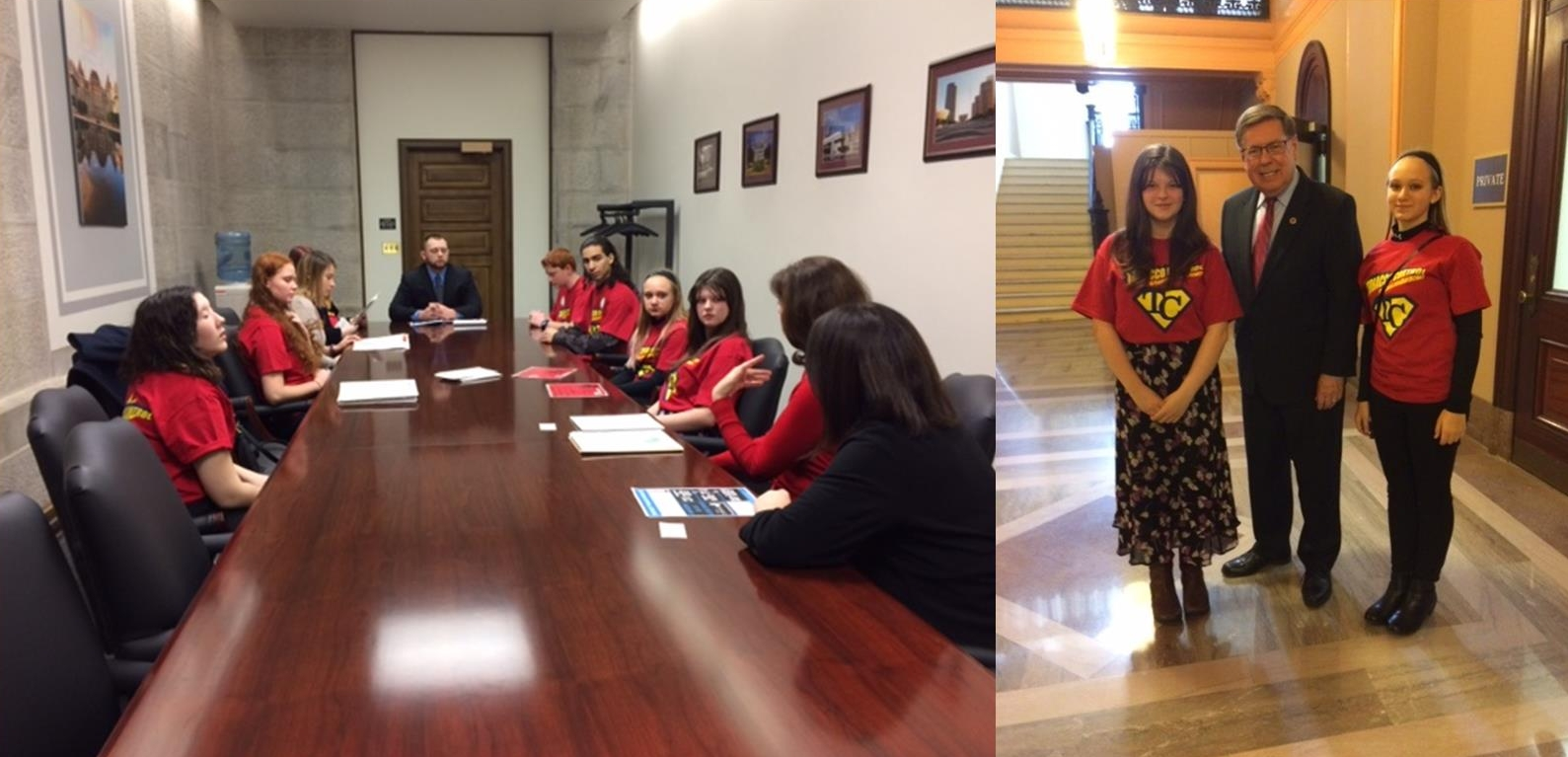 Cherry Valley-Springfield RC - On the left, youth have an opportunity to discuss what RC means to them with Joshua Bailey who is the Legislative Assistant for Senator James Seward.On the Right, Senator Seward meets with RC youth Jasmine Neil and Jillian Johnson.