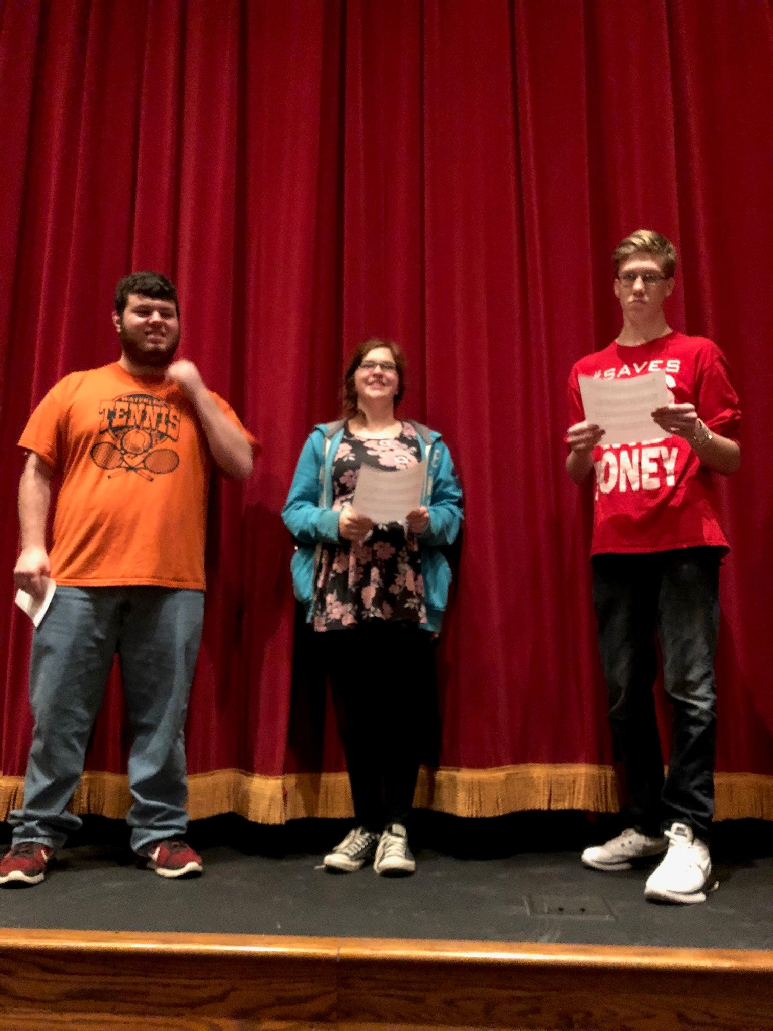 Reality Check youth (Left to Right: David McCarthy, Kim Page, Zach Pascarella)from Waterloo, NY educating the community about smoking in movies.