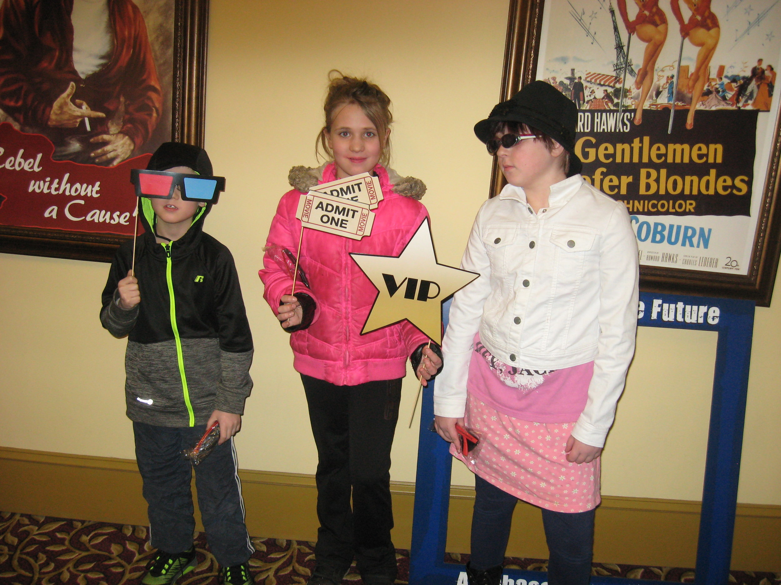 Youth at the Ohmann Theater in Lyons, NY enjoying the selfie station before the showing of Wonder.