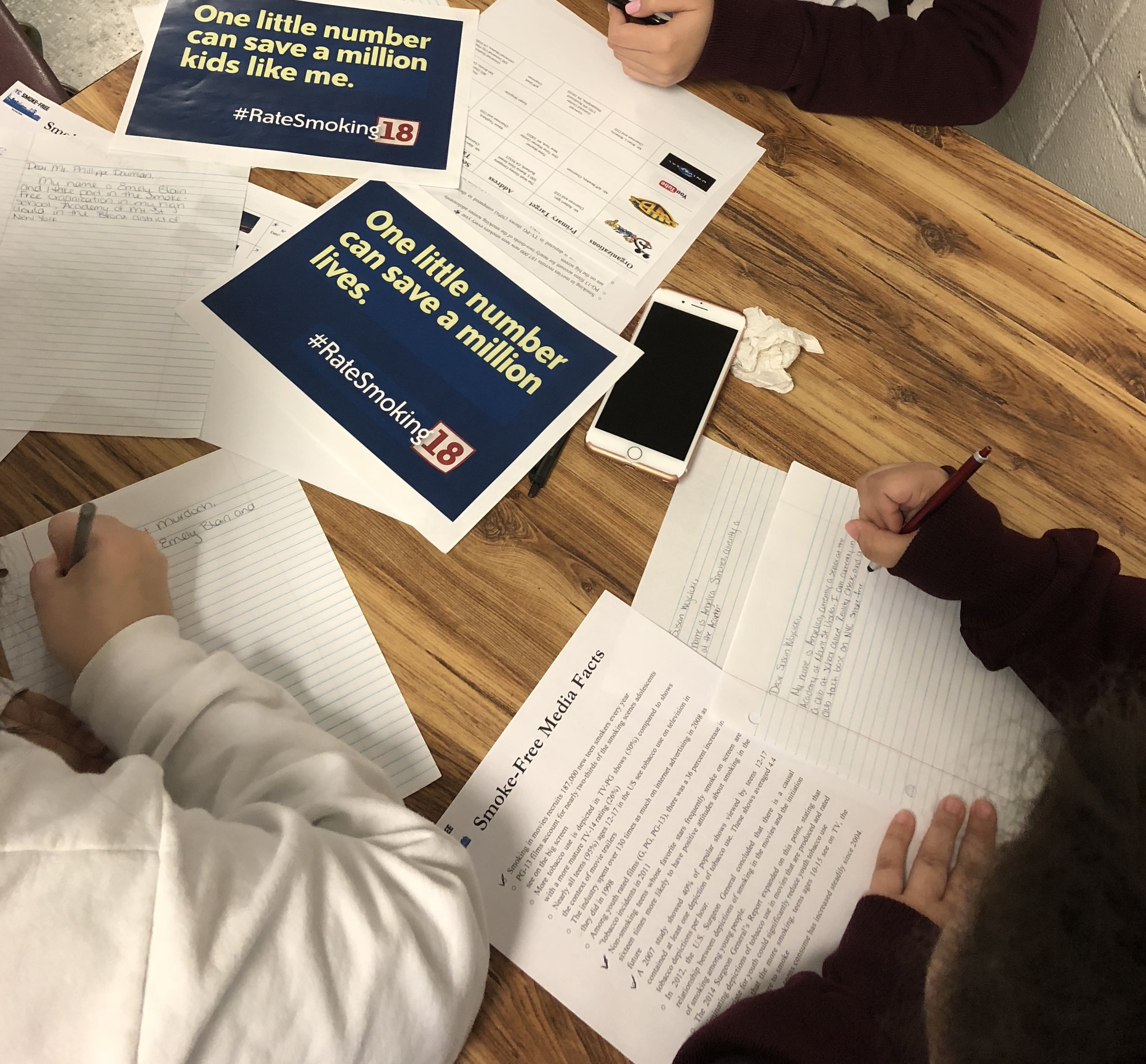Letter Writing Campaign- Reality Check students wrote letters to CEO's of major production companies sharing the facts about tobacco exposure towards youth in youth rated movies and the importance of eliminating smoking scenes from movies.