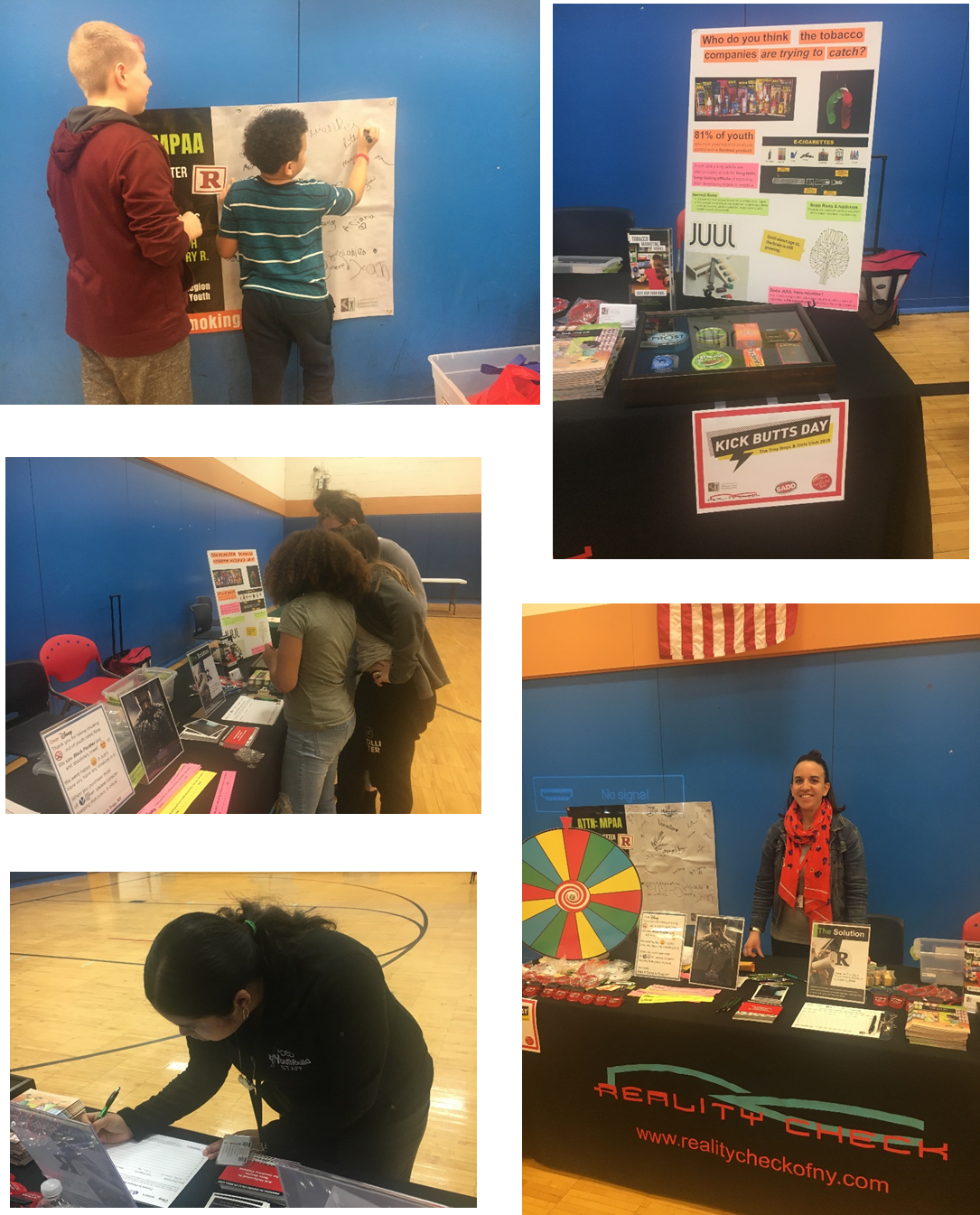 For Kick Butts Day on March 23rd, a table was set up to educate families and children about smoking depicted in the movies and tobacco marketing at the Mental Health Awareness Event held at the Troy Boys & Girls Club in Rensselaer County.