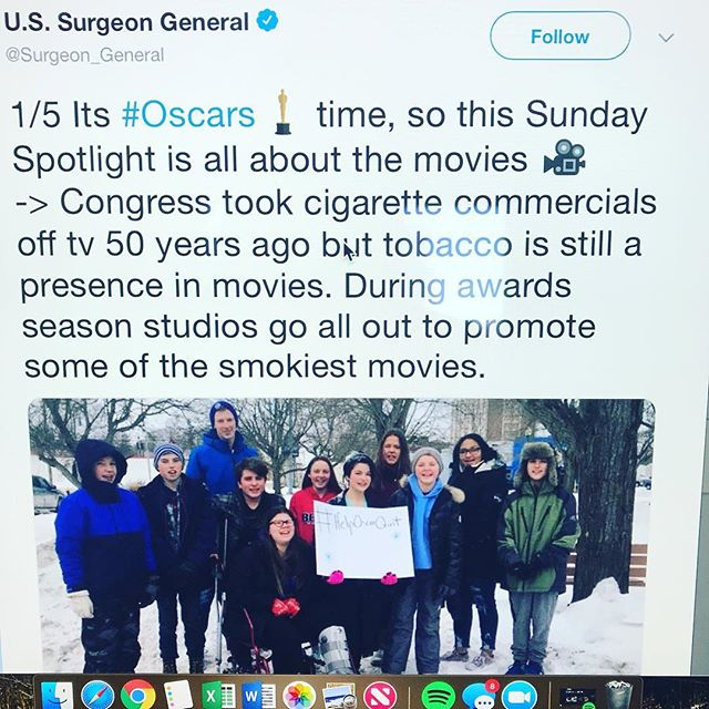 Thank you @u.s.surgeongeneral for noticing us and helping to spread our message to #HelpOscarQuit and to #RateSmokingR
