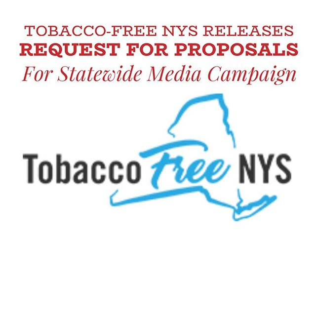 NYS Advancing Tobacco-Free Communities Grant releases Request for Proposals for Media Project https://tobaccofreenys.org/wp-content/uploads/2019/08/RFP-ATFC-Media-Project-1.pdf