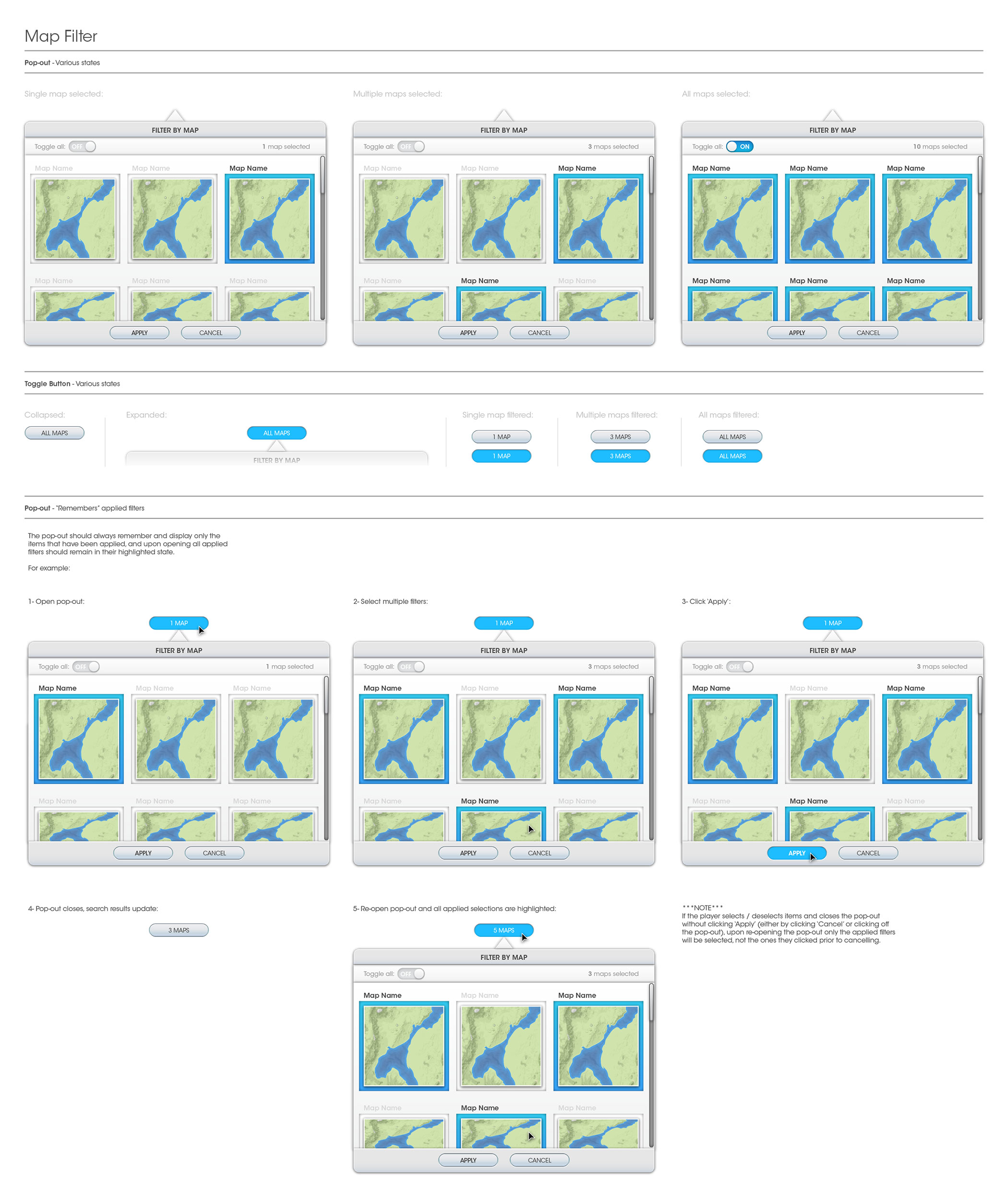UX - Map Filter Storyboard
