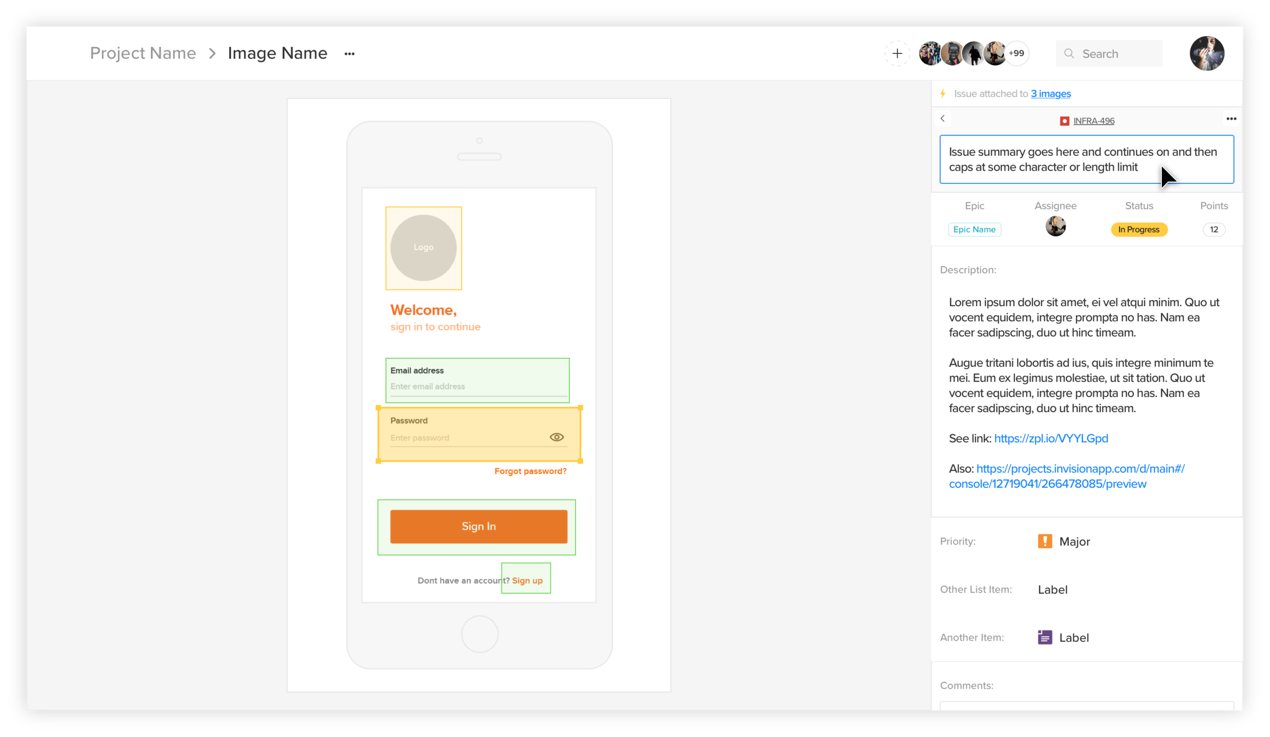 Wireframe example with Jira issue details.