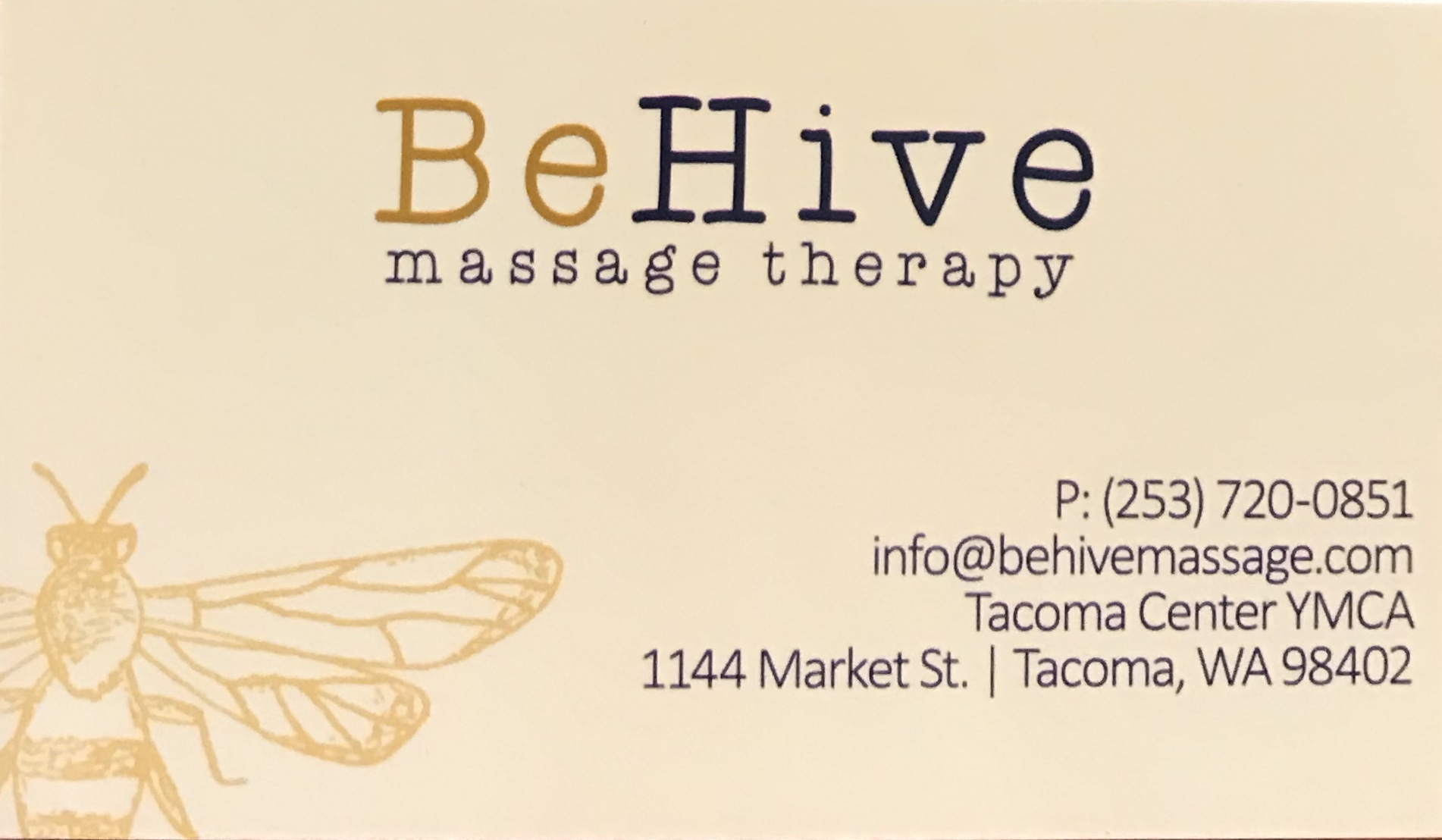 Our Partner - We would like to thank BeHive Massage Therapy who keeps us healthy. Please consider supporting BeHive with a massage visit of your own.