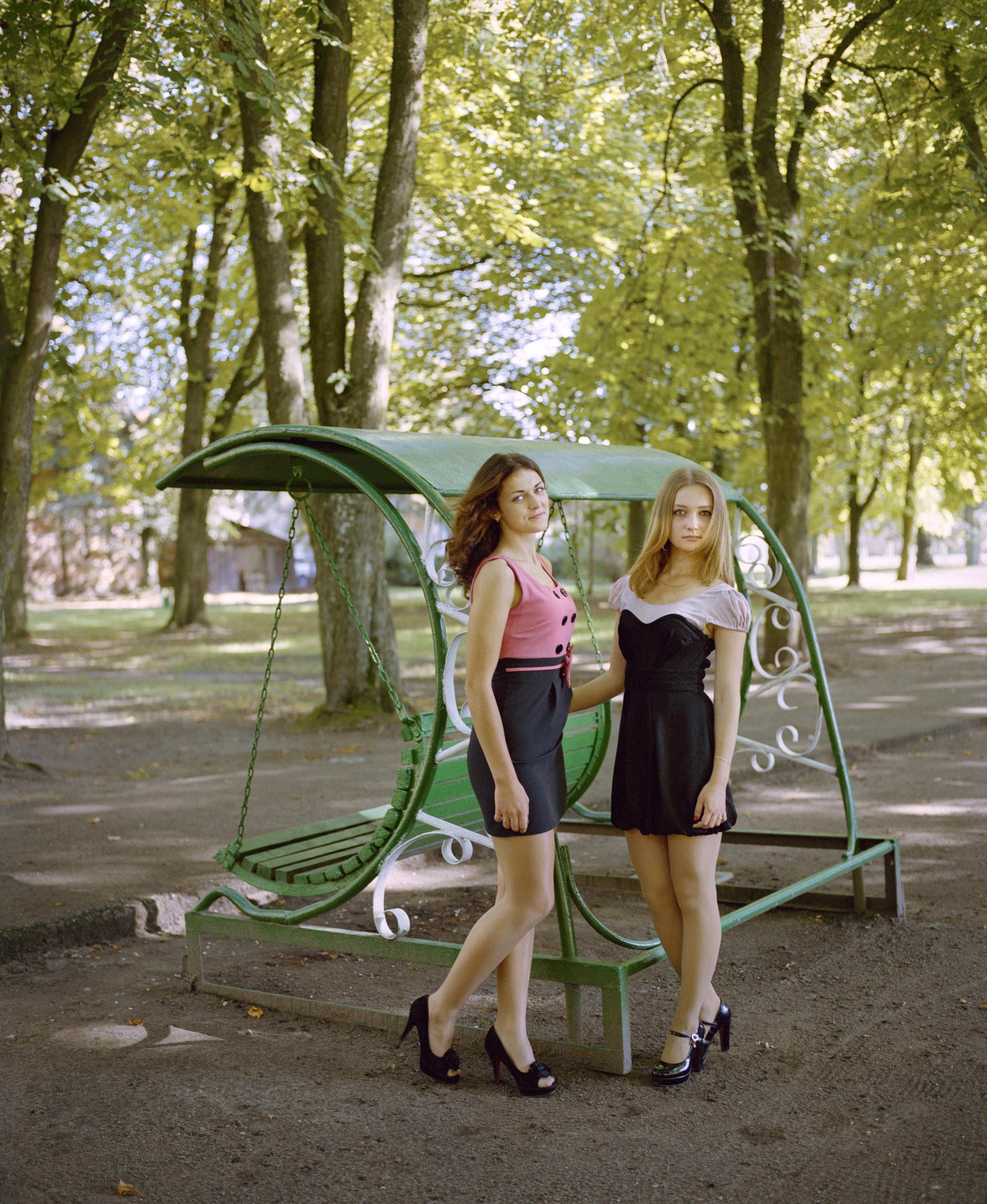 Nadia and Andzelika in city park of Pravdinsk, Kaliningrad