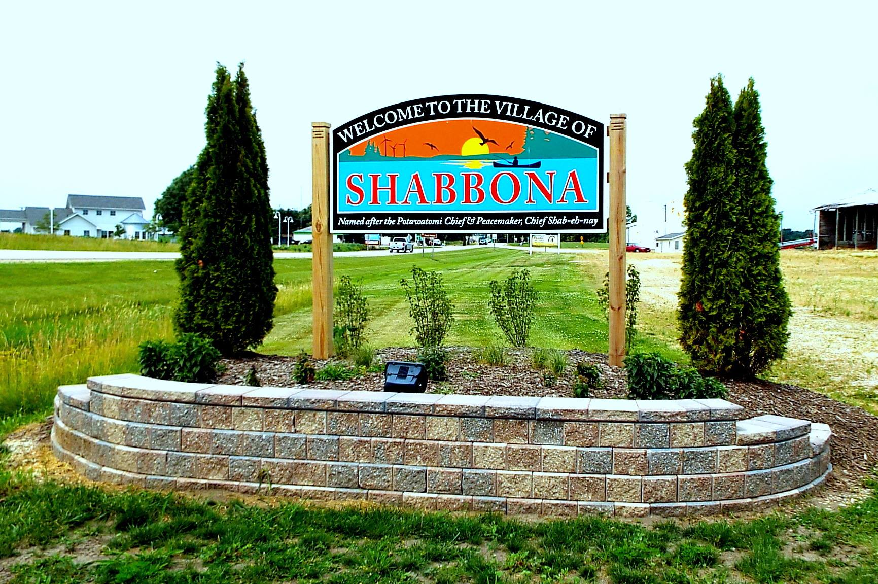 Welcome to Shabbona - New signs were installed in 2017
