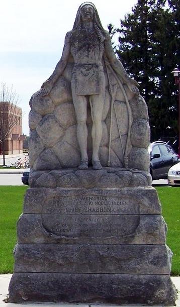 Monument at Indian Creek elementary school, Shabbona Illinois