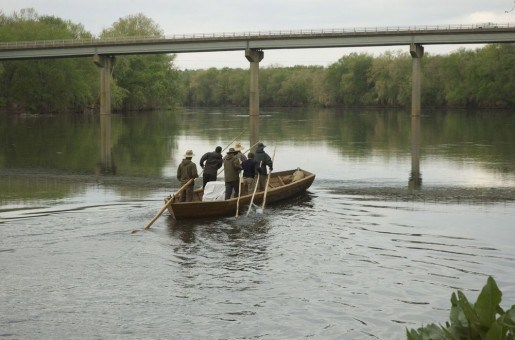 Six men in a batteaux retrace John Marshall's historic expedition up the James River in Virginia | Image credit: Holt Messerly
