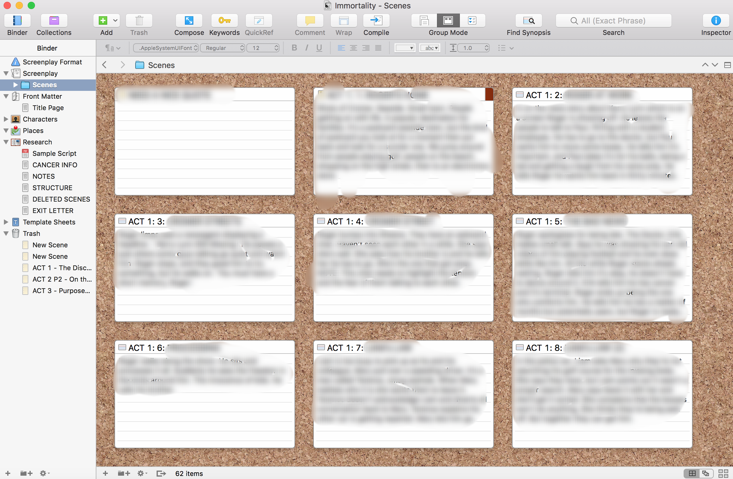 And for screenplays you have the corkboard layout so you can move scenes around!
