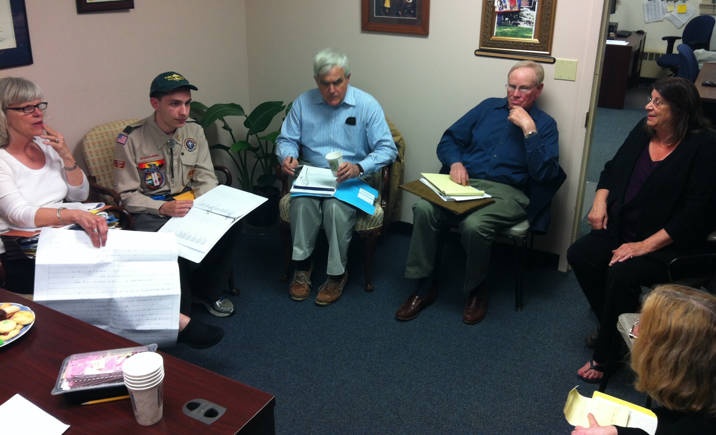 Boy Scout Ben DiBuduo meets with the Eastside Board of Directors in May 2013 to present his completed Eagle Scout Project.